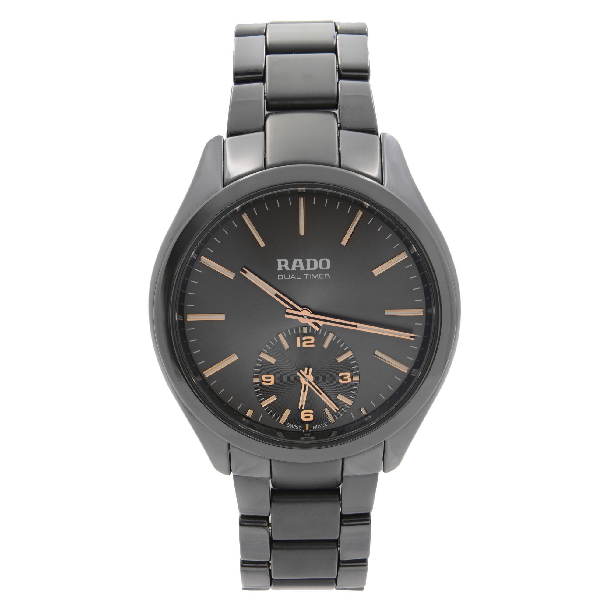 Rado Hyperchrome Ceramic Touch Dual Timer Grey Dial Quartz Mens Watch R32102172