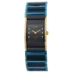 Rado Integral Black Dial Gold Plated Steel Diamond Quartz Ladies Watch R20752752