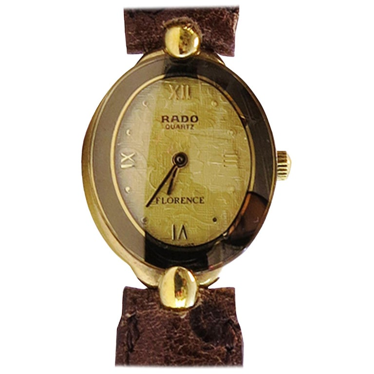 Rado Ladies Watch Whit 18 Karat Plated Yellow Face and Sapphire Crystal For Sale