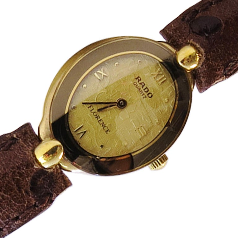 Rado Ladies Watch Whit 18 Karat Plated Yellow Face and Sapphire Crystal In Good Condition For Sale In Jackson Heights, NY