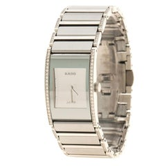 Rado Silver Stainless Steel and Ceramic Diamond Women's Wristwatch 16 mm