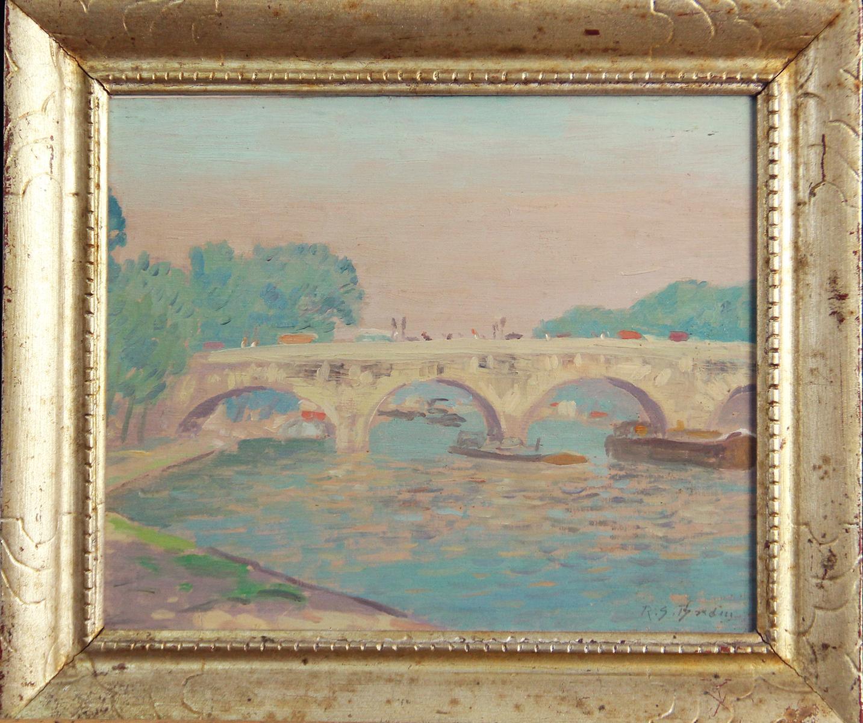 Bridge Scene in France, American Impressionist, European River Landscape, 1914