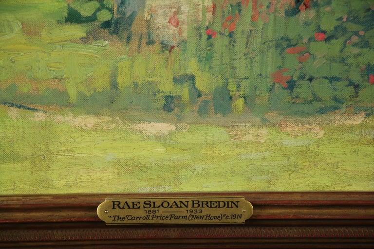 Carroll Price Farm, Bucks County, Pennsylvania Impressionist Landscape, Figures - Painting by Rae Sloan Bredin