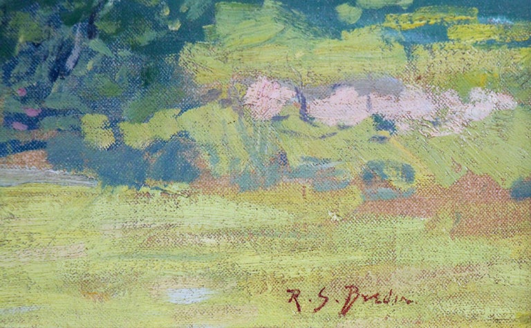 Carroll Price Farm, Bucks County, Pennsylvania Impressionist Landscape, Figures - American Impressionist Painting by Rae Sloan Bredin