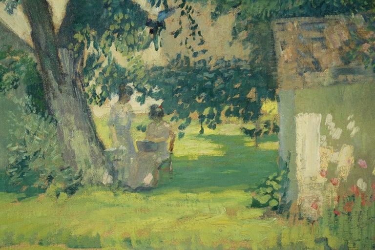 Carroll Price Farm, Bucks County, Pennsylvania Impressionist Landscape, Figures - Brown Landscape Painting by Rae Sloan Bredin