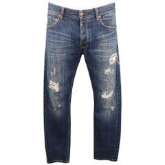 RAF by RAF SIMONS Size 34 Indigo Distressed Denim Button Fly Jeans