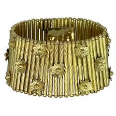 RAF Italian Wide Link Flower Motifs Bracelet 18k Solid Gold