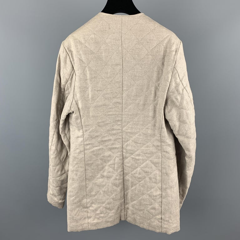RAF SIMONS 38 Beige Quilted Linen V Neck Collarless SS 2009 Sport  In Good Condition For Sale In San Francisco, CA