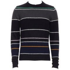 RAF SIMONS black grey merino wool blend striped long sleeve sweater S
