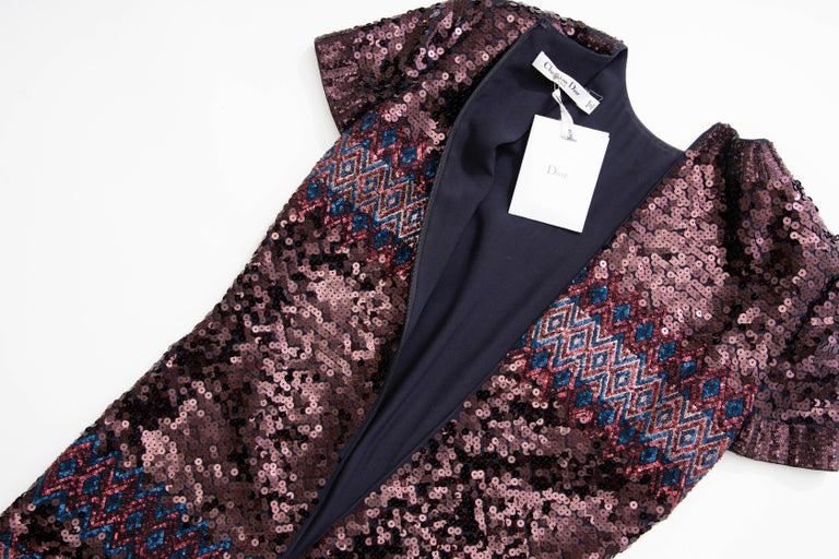 Raf Simons for Christian Dior Embroidered Sequin Evening Dress, Pre-Fall 2015 For Sale 8