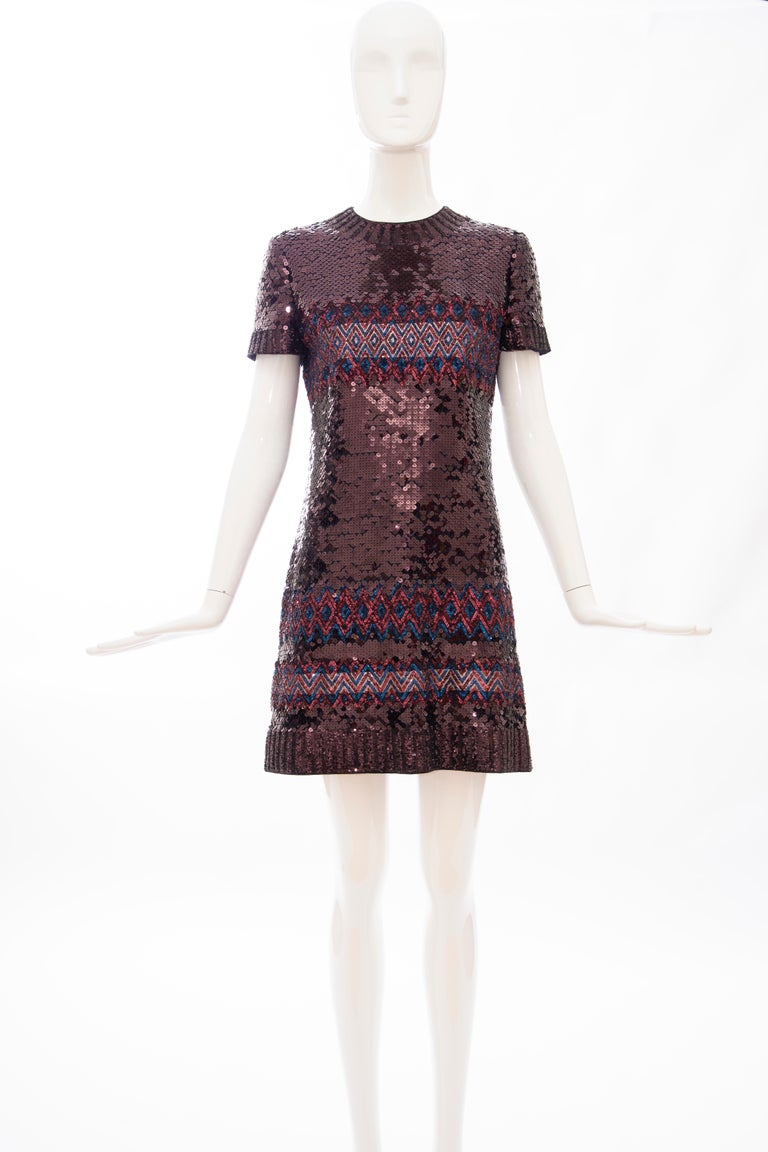 Raf Simons for Christian Dior, Pre-Fall 2015, silk embroidered raisin sequin with indigo and cranberry micro-sequins shift dress, concealed back zip and hook and eye closure, fully lined in silk.  FR/ 38, US. 6   Bust: 35