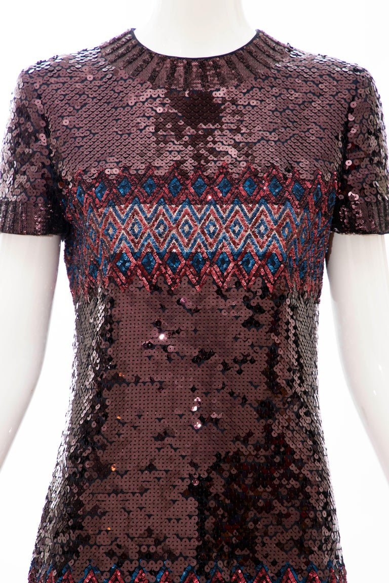 Black Raf Simons for Christian Dior Embroidered Sequin Evening Dress, Pre-Fall 2015 For Sale
