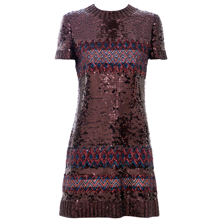 Raf Simons for Christian Dior Embroidered Sequin Evening Dress, Pre-Fall 2015 For Sale