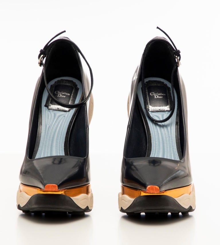 Raf Simons for Christian Dior Patent Leather Runway Sneaker Pumps, Fall 2014 For Sale 7