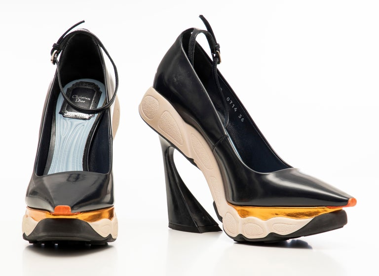Raf Simons for Christian Dior Patent Leather Runway Sneaker Pumps, Fall 2014 For Sale 8