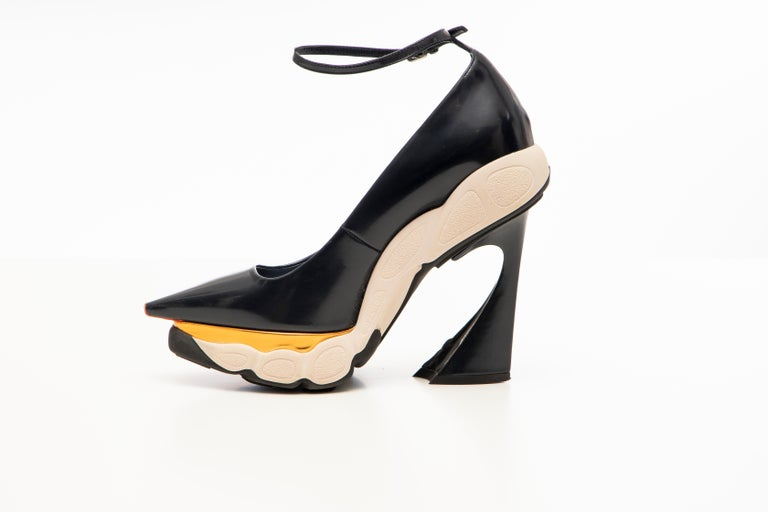 Raf Simons for Christian Dior Patent Leather Runway Sneaker Pumps, Fall 2014 For Sale 1