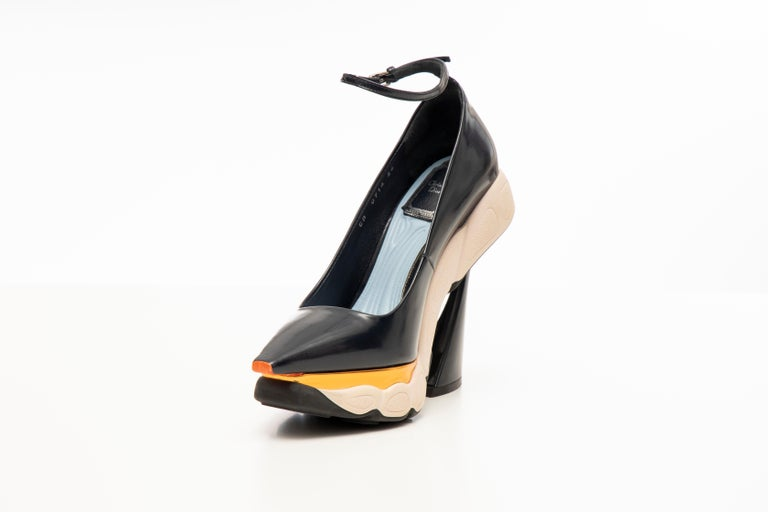 Raf Simons for Christian Dior Patent Leather Runway Sneaker Pumps, Fall 2014 For Sale 2
