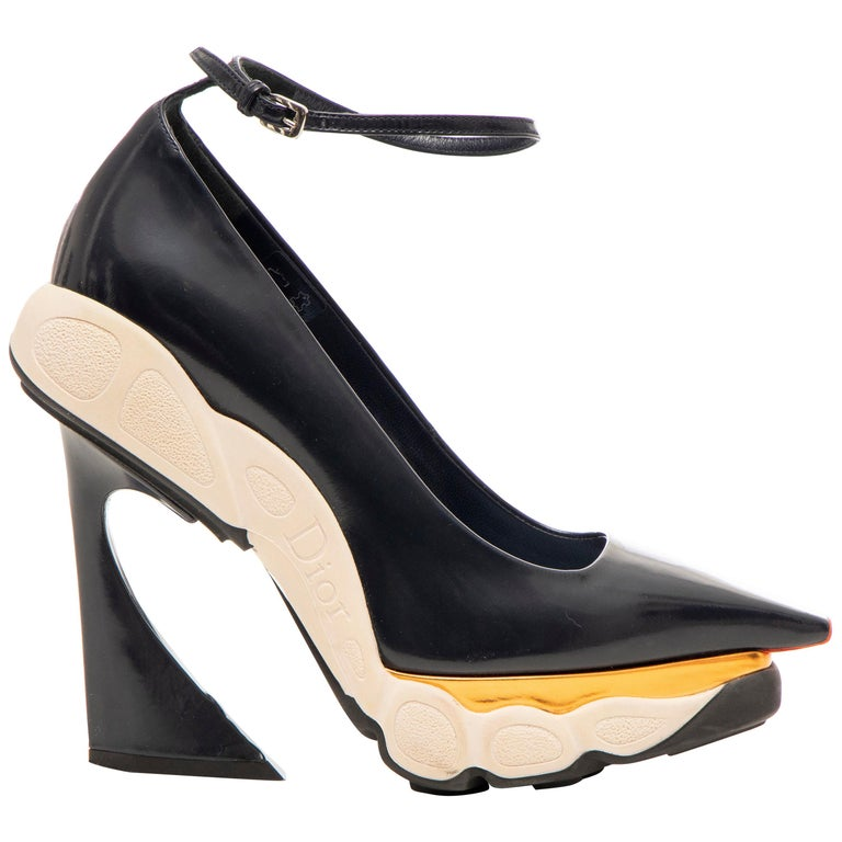 Raf Simons for Christian Dior Patent Leather Runway Sneaker Pumps, Fall 2014 For Sale