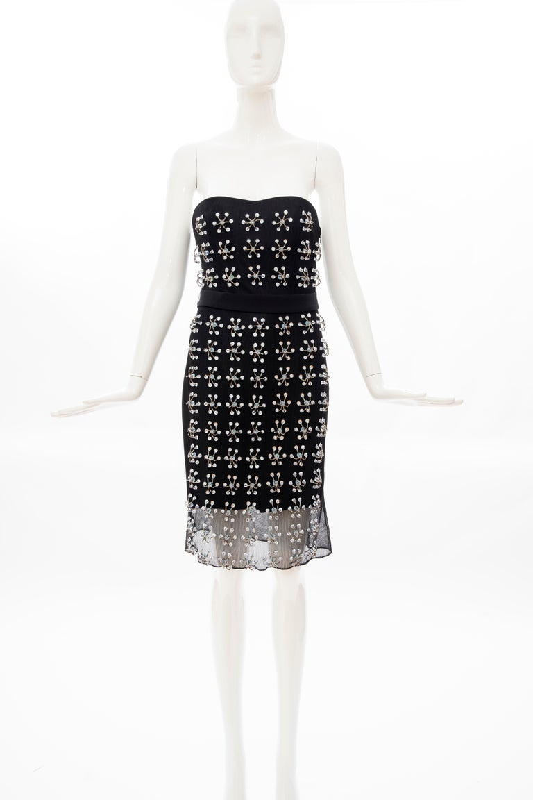 Black Raf Simons for Christian Dior Runway Strapless Embroidered Dress, Spring 2013 For Sale