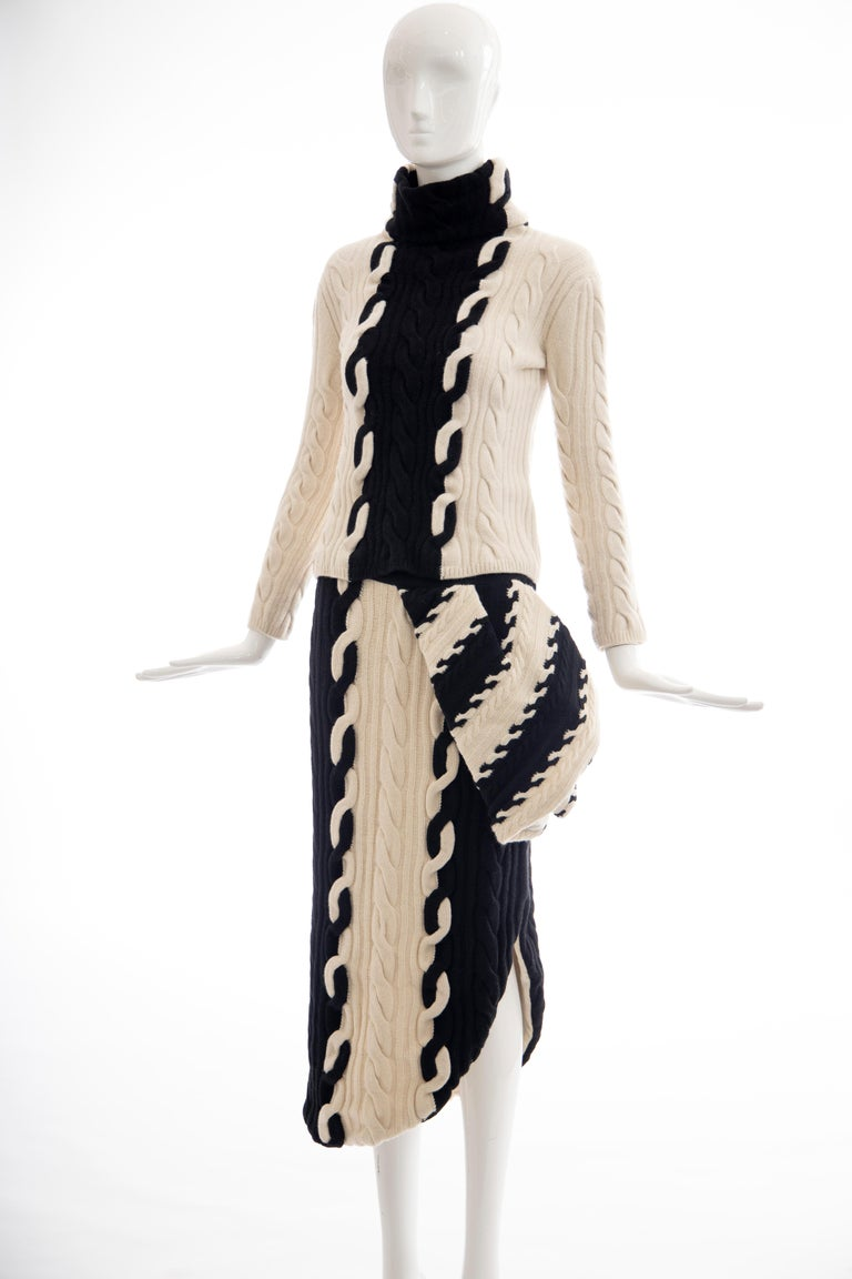 Raf Simons for Christian Dior Wool Cashmere Cable Knit Skirt-Suit, Fall 2013 For Sale 6