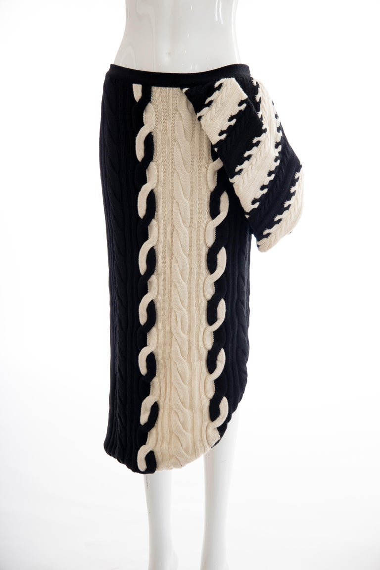 Raf Simons for Christian Dior Wool Cashmere Cable Knit Skirt-Suit, Fall 2013 For Sale 7