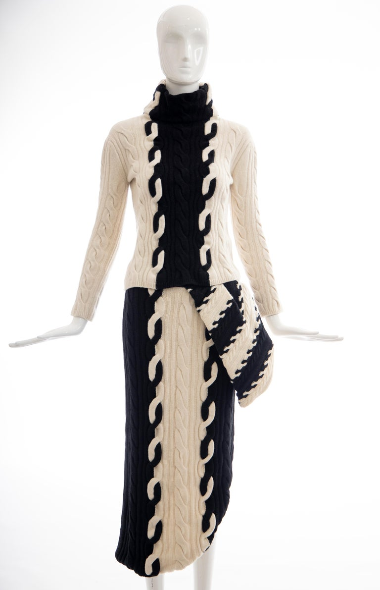 Raf Simons for Christian Dior Wool Cashmere Cable Knit Skirt-Suit, Fall 2013 For Sale 9