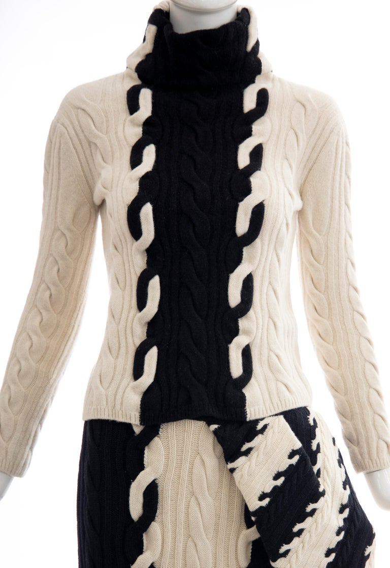 Beige Raf Simons for Christian Dior Wool Cashmere Cable Knit Skirt-Suit, Fall 2013 For Sale