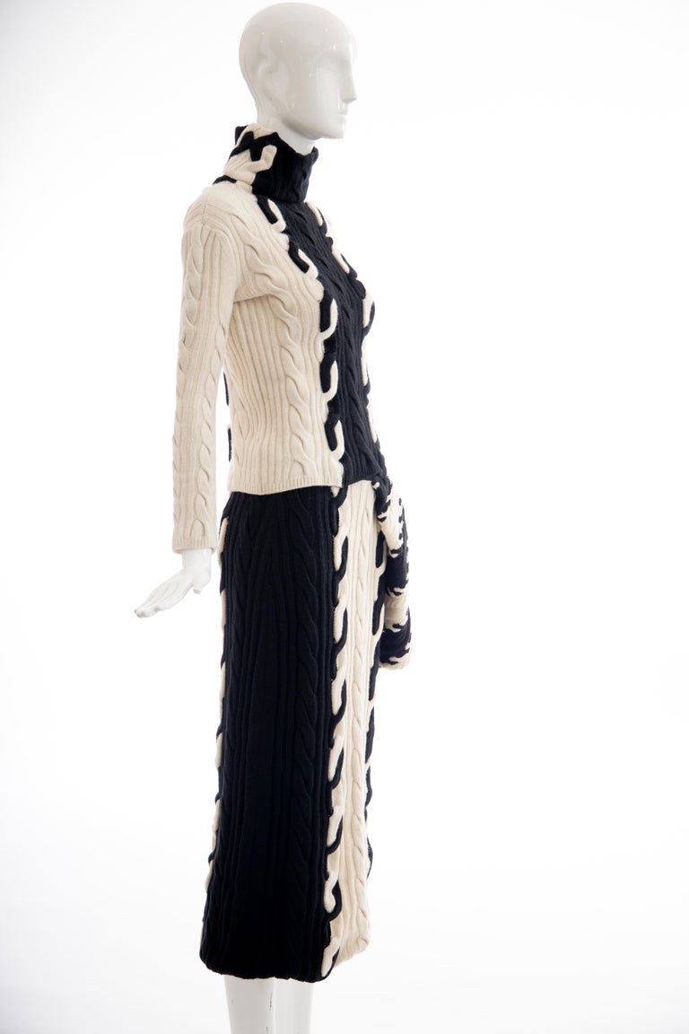 Raf Simons for Christian Dior Wool Cashmere Cable Knit Skirt-Suit, Fall 2013 In Good Condition For Sale In Cincinnati, OH