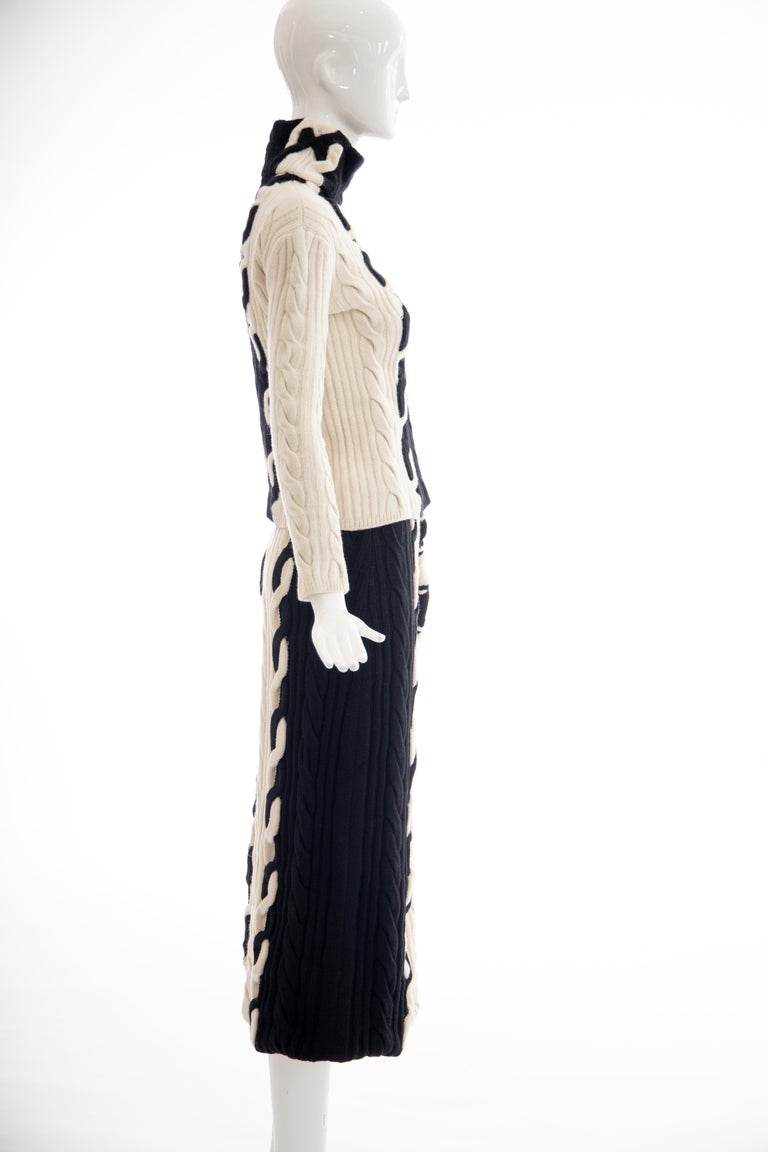 Women's Raf Simons for Christian Dior Wool Cashmere Cable Knit Skirt-Suit, Fall 2013 For Sale