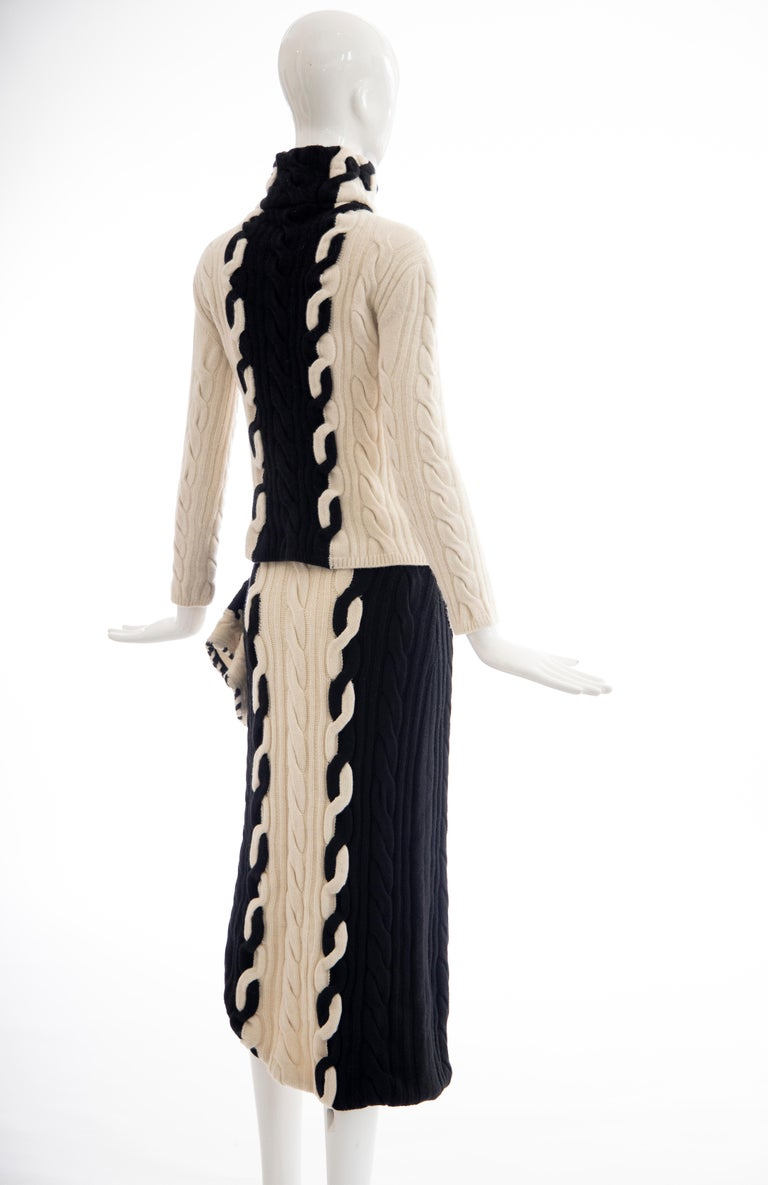 Raf Simons for Christian Dior Wool Cashmere Cable Knit Skirt-Suit, Fall 2013 For Sale 1