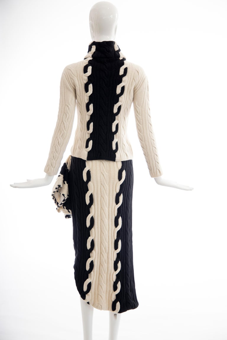 Raf Simons for Christian Dior Wool Cashmere Cable Knit Skirt-Suit, Fall 2013 For Sale 2