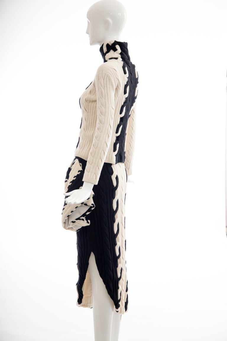 Raf Simons for Christian Dior Wool Cashmere Cable Knit Skirt-Suit, Fall 2013 For Sale 3