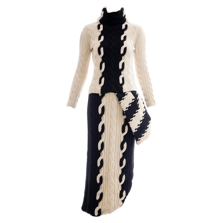 Raf Simons for Christian Dior Wool Cashmere Cable Knit Skirt-Suit, Fall 2013 For Sale