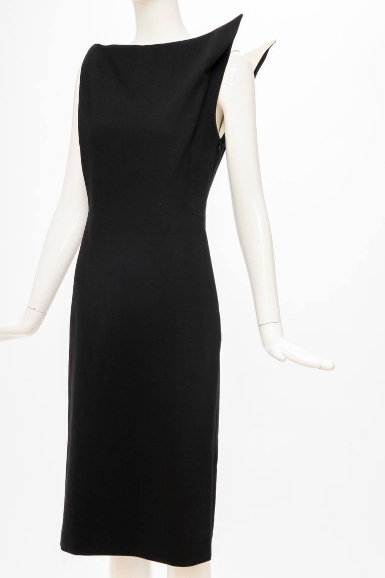 Raf Simons for Jil Sander Runway Black Wool Sculptural Evening Dress, Fall 2009 In Excellent Condition For Sale In Cincinnati, OH