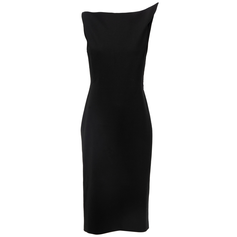 Raf Simons for Jil Sander Runway Black Wool Sculptural Evening Dress, Fall 2009
