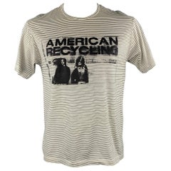 """RAF SIMONS S/S 2002 """"AMERICAN RECYCLING"""" Size M Black & White Stripe T-Shirt"""