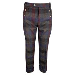 RAF SIMONS Size 32 Charcoal & Navy Plaid Wool Zip Fly Dress Pants
