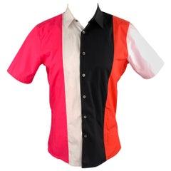 RAF SIMONS Size S Multi-Color Color Block Cotton Button Up Short Sleeve Shirt