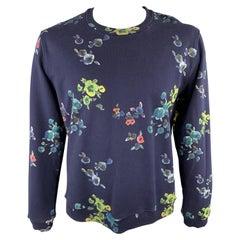 RAF SIMONS Size XL Navy Floral Cotton Blend Crew-Neck Sweatshirt