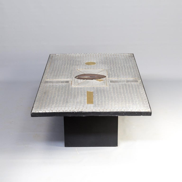 Mid-Century Modern Raf Verjans Coffee Table with Agate Stone For Sale