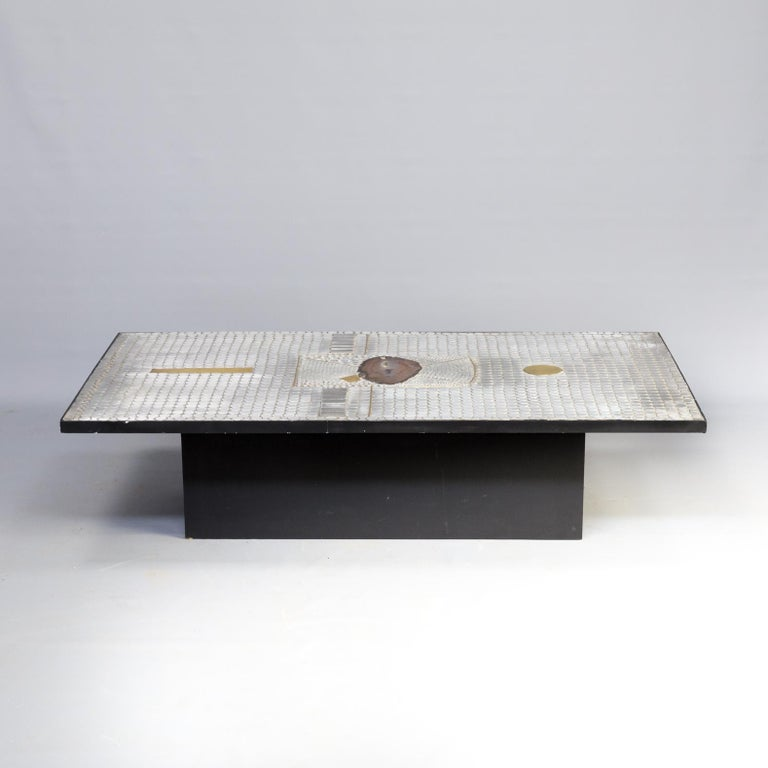 Belgian Raf Verjans Coffee Table with Agate Stone For Sale