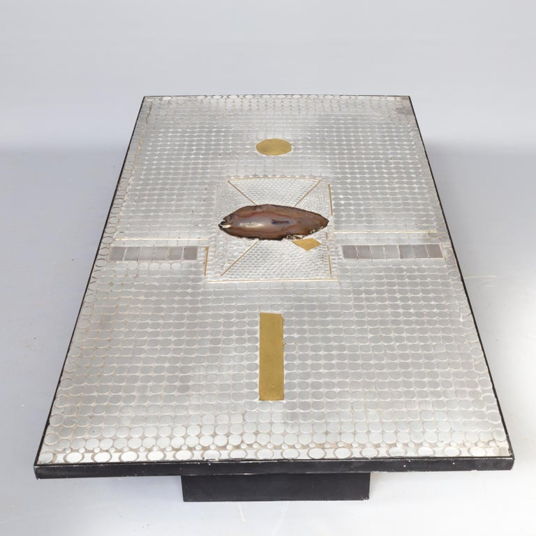 20th Century Raf Verjans Coffee Table with Agate Stone For Sale
