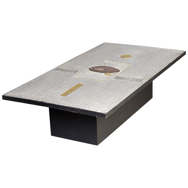 Raf Verjans Coffee Table with Agate Stone For Sale