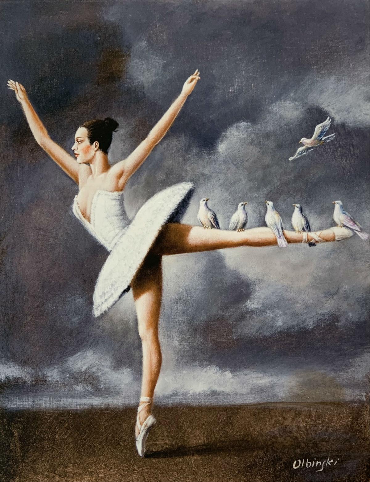 A ballerina - 21st century, Figurative Surrealist print, Dance, Landscape