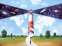 A galaxy - Figurative Surrealist print, Colorful, Landscape, Vibrant colors