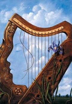 A harp - XXI century, Figurative surrealist print, Musical instrument, Flowers