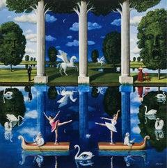 A Lake - XXI Century, Contemporary Figurative Surrealist Print, Colorful