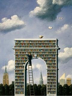 A library - XXI Century, Contemporary Figurative Surrealist Print, Colorful