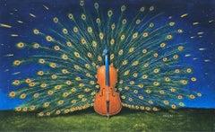 A peacock - Figurative Surrealist print, Vibrant colors, Landscape, Music