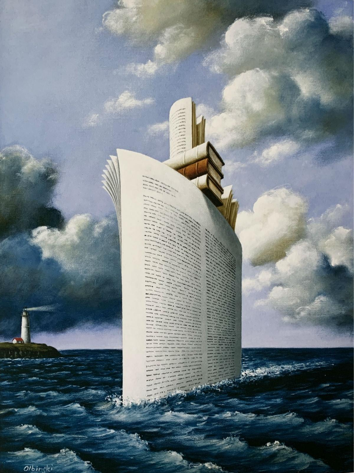 A ship - Figurative Surrealist print, Marine landscape, Blue, Books